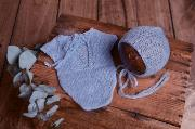 Sky blue mohair bodysuit and hat