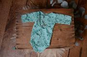 Sky blue long-sleeve lace bodysuit
