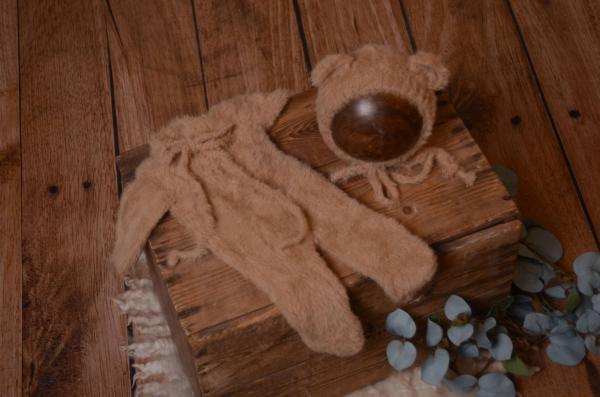 Brown fur hat and pyjama