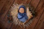 Set en mohair de wrap et bonnet fantaisie bleu