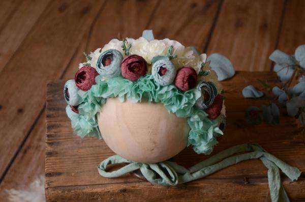 Aquamarine flower baby bonnet
