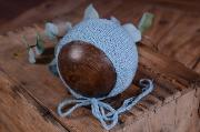 Light blue smooth mohair hat