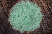 Mint green extra long curly-hair blanket