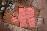 Set de encaje pantalón y diadema rosa palo