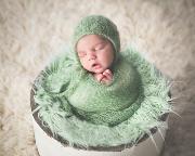 Set en mohair de wrap et bonnet vert