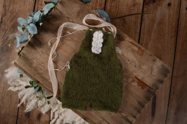 Bottle green mohair short dungaree with bow and pearls