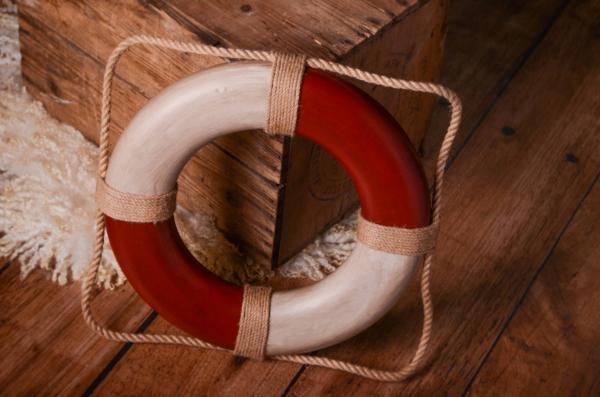 Bouée de sauvetage vintage rouge 30 cm