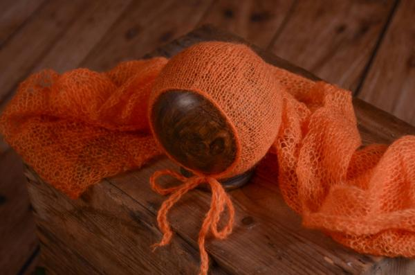 Orange mohair wrap and hat set