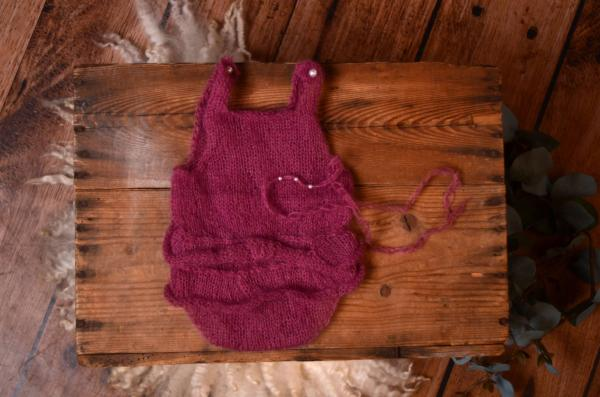 Bougainvillea ruffled mohair bodysuit and headband