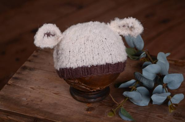 Beige and brown hat with sheep ears