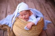 Baby blue long stitch hat with knot