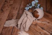Set Wrap aus glatter Angora mit Mütze in Nerz