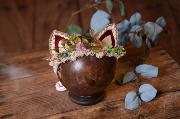 Fantasie Kopfputzt mit Öhrchen in Beige und Bordeaux