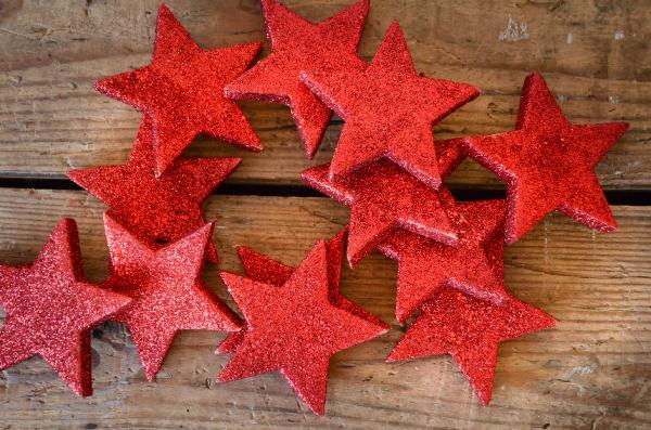 Decorative red stars 6 cm