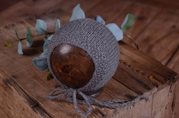 Grey smooth mohair hat