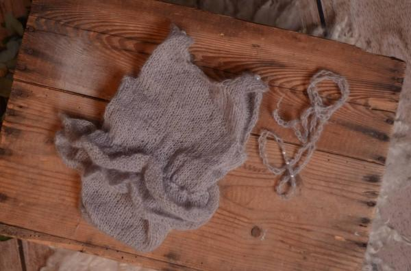 Light grey ruffled mohair bodysuit and headband