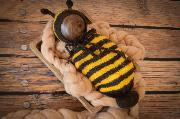 Yellow and black sack bee costume