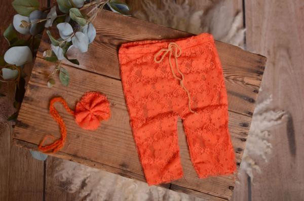 Ensemble de pantalon et coiffure en dentelle orange