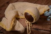 Set en mohair de wrap et bonnet fantaisie jaune clair