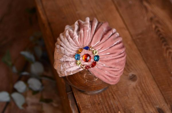 Turban en velours rose