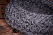 Dark grey plaited wool basket