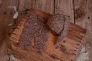 Conjunto de angora pantalón y gorro largo visón