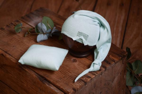 Set lange Mütze und kleines Kissen in Aquagrün
