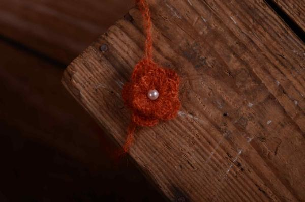 Dark orange mohair headband with pearl