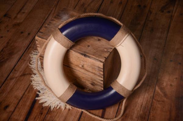 Bouée de sauvetage vintage bleu 50 cm