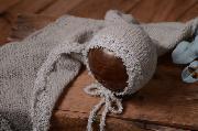 Set Wrap und Mütze aus Angora Fantasie in Hellgrau