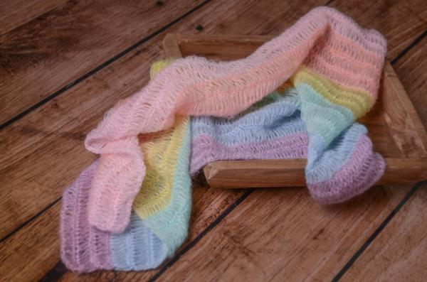 Multicoloured mohair wrap