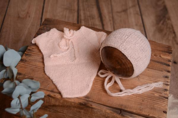 Light pink mohair bodysuit and hat
