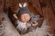 Dark grey bunny-ear hat and toy set