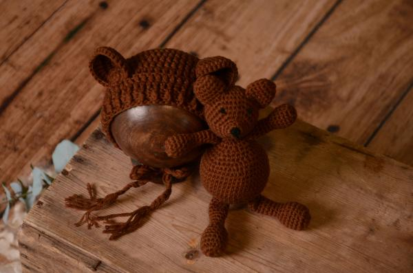 Brown teddy bear and hat set