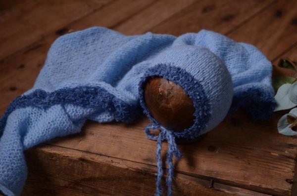 Set de wrap y gorro de angora de fantasía azul
