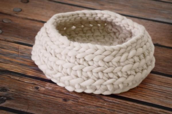 White wool basket