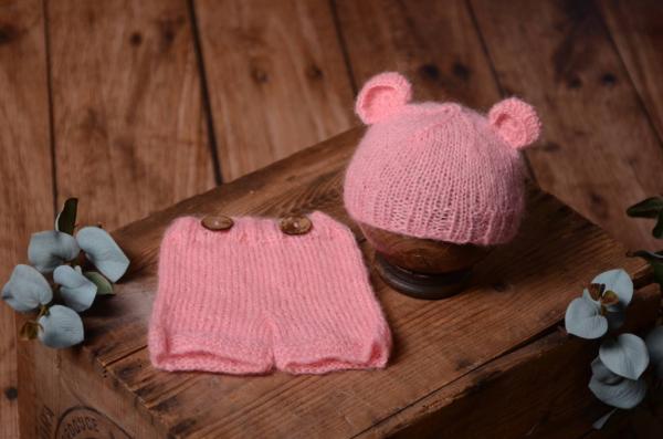 Conjunto angora orejas rosa