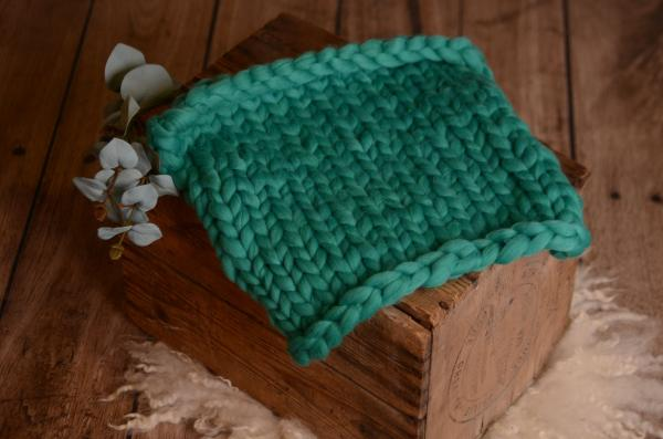 Turquoise small plaited blanket