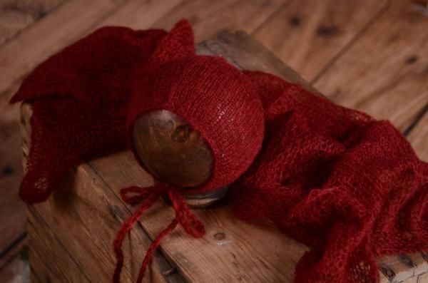 Set wrap e berretto di angora bordeaux
