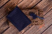 Wrap maille et serre-tête bleu marin