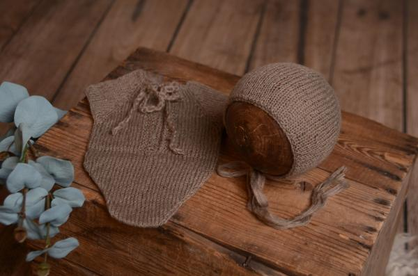 Mink mohair bodysuit and hat