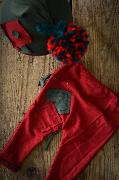 Stitch trouser and hat with pompom set