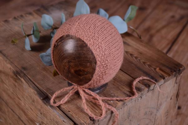 Gorro de angora liso rosa palo