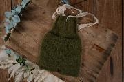 Salopette angora corta con nastro e perle verde bottiglia