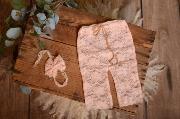 Light pink pants and headband lace set