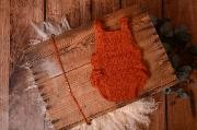 Russet ruffled mohair bodysuit and headband