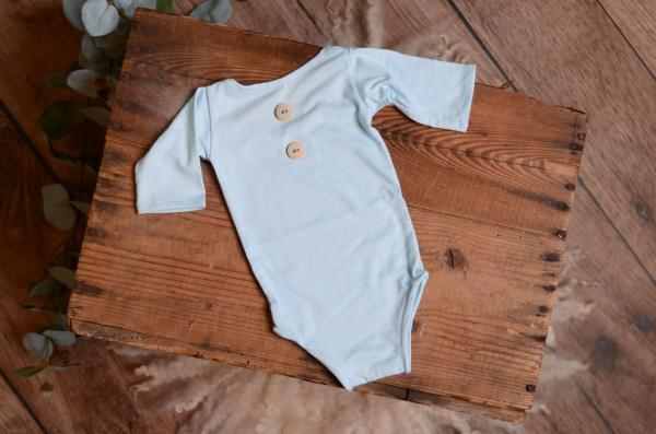 Baby blue stitch bodysuit with long sleeves