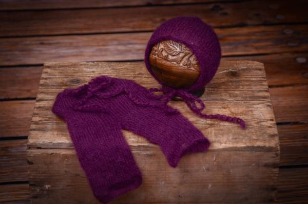 Ensemble en mohair pantalon et bonnet violet