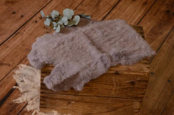 Grey fur fabric