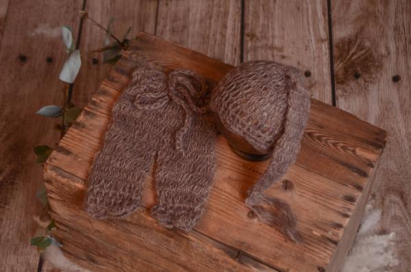 Completo di angora pantalone e berretto lungo visone